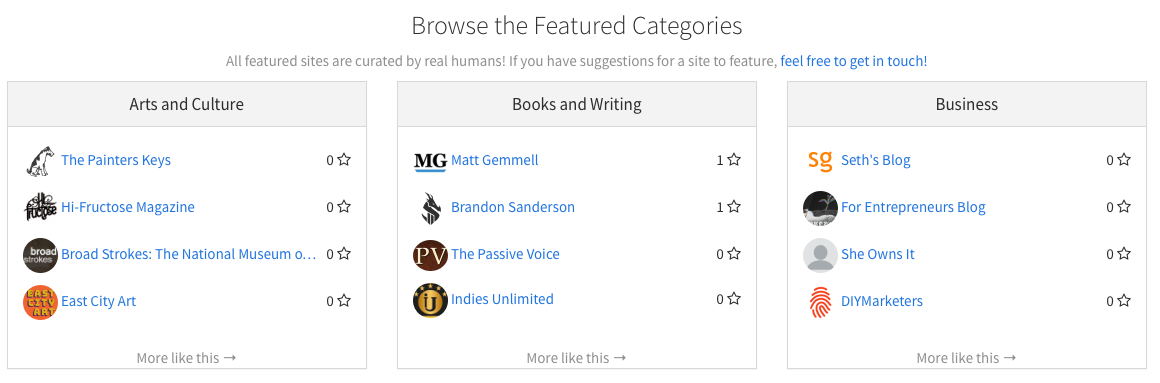 A sample of the featured sites