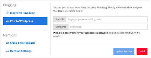 Adding a wordpress blog from your account
